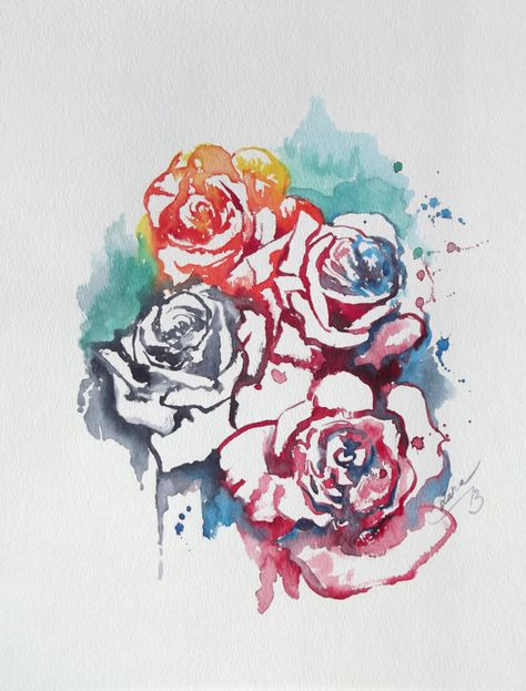 Abstract Floral Original Watercolor Painting - Contemporary Home Decor - Abstract Roses Watercolors - Mothers Day Gift. $45.00, via Etsy.