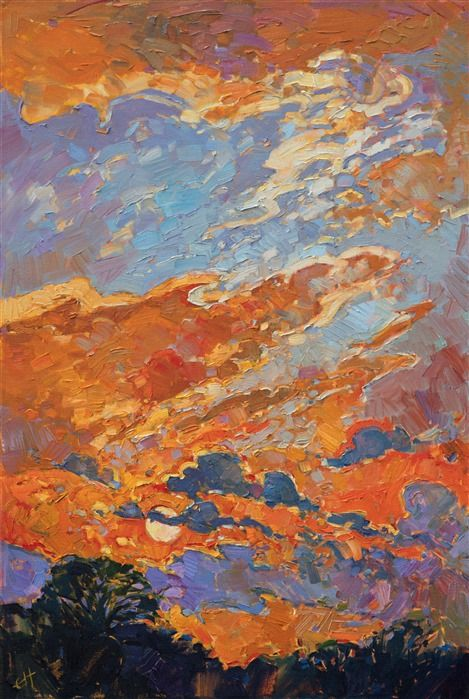 Texas Sky Landscape Painting In A Colorful Impressionist Style By Erin Hanson Sky Landscape Painting Contemporary Impressionism Art
