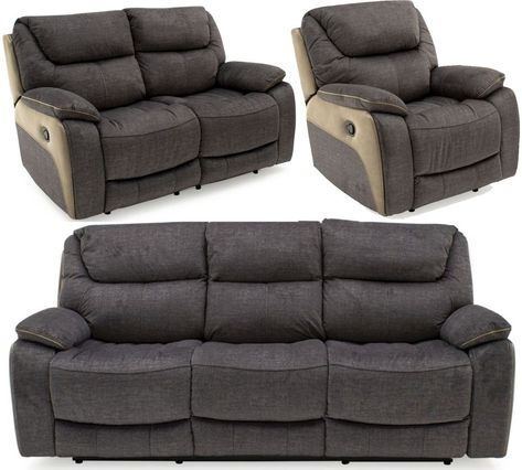 Vida Living Santiago Grey Fabric 3 2 1 Seater Recliner Sofa Reclining Sofa Sofa Grey Fabric