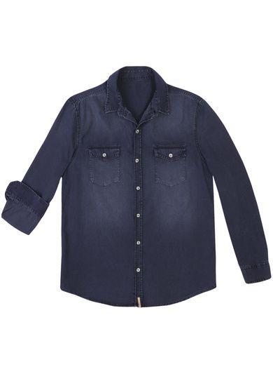 0bc899237 Camisa Jeans Masculina Em Modelagem Regular E Lavação Escura ...