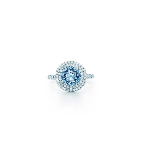 5857f158d My daughter's birthstone - LOOOOOOVE this so much!!! Tiffany Soleste® ring  in platinum with a .70-carat aquamarine and diamonds. | Tiffany & Co.