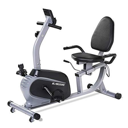 Maxkare Recumbent Exercise Bike Indoor Cycling Stationary Bike With Adjustable Seat And Resistance Pulse Monitor Phone Holder Seat Height Adjustment By Lever Recumbent Bike Workout Indoor Bike Workouts Biking Workout