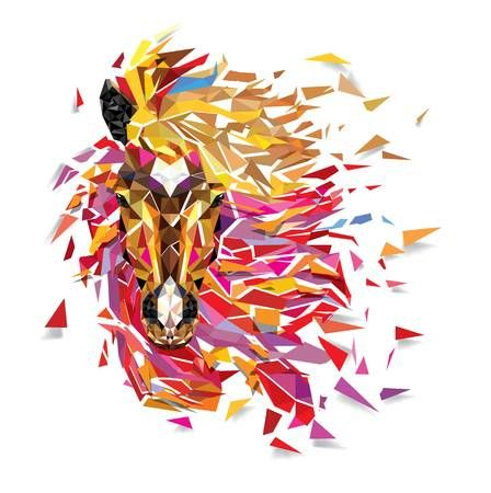 Horse Geometric Pattern Fabulous Hair Of Horse Low Polygon Royalty Free Cliparts Vectors And Stock Illust Polygon Art Geometric Animals Geometric Drawing
