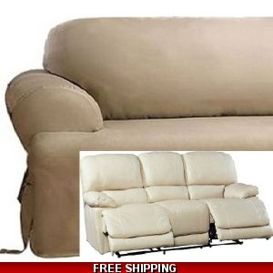 Dual Reclining Sofa Slipcover T Cushion Suede Chocolate Sure Fit