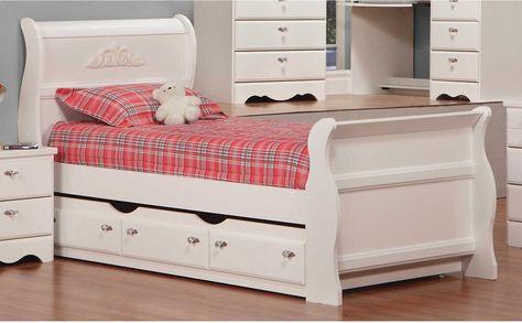 Diamond Dreams Twin Sleigh Bed W, Cafe Kids Furniture
