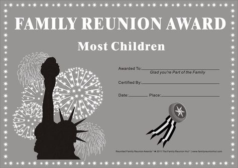 Reunited Family Reunion AwardsTM By The HutTM In Black And White Can Be Freely Downloaded Distributed Or Printed For Non Commercial U