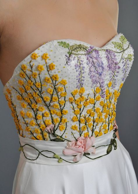 wedding dress guest what to wear Bridal Separates - Wisteria Corset - Silk ribbon embroidered Garden Scene bridal corset, multi colored - Wedding Dress Bodice - Custom Made Moda Floral, Bridal Corset, Bridal Separates, Silk Ribbon Embroidery, Flower Embroidery, Mode Inspiration, Embroidered Flowers, Beaded Flowers, Embroidery Designs