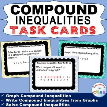 Compound Inequalities Task Cards 40 Cards Topics Included Graph Compound Inequalities Wri Compound Inequalities Task Cards High School Math Activities