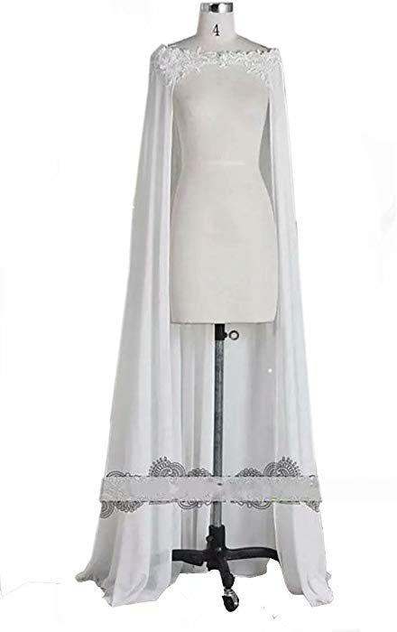 ee8a756180c Lavendel Off Shoulder Chiffon Appliques Lace Long Wedding Cape Bridal Cloak  at Amazon Women s Clothing store