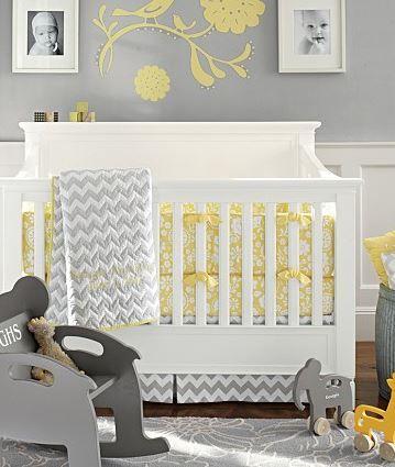 yellow and gray nursery // pottery barn kids