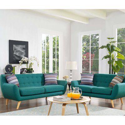 Langley Street Meggie 2 Piece Living Room Set Living Room Sets Modern Style Living Room Mid Century Modern Living Room Set