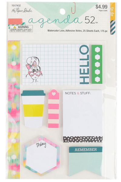 The Paper Studio Agenda 52 Watercolor Love Sticky Notes 7 Pads