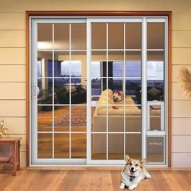 Jeld Wen 72 In X 80 In Grilles Between The Glass White Vinyl Left Hand Sliding Double Door Sliding Patio Door With Screen And Pet Door Lowes Com Sliding Patio Doors Patio Panel Pet Door Patio Front entry doors need to be functional, attractive, durable, as well as sturdy enough to stand up to tough weather conditions. sliding patio doors patio panel pet