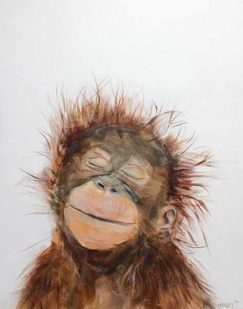 **GALLERY-WRAPPED CANVAS NURSERY ART**  Archival quality print on canvas of my original acrylic painting Little Orangutan.  **QUALITY MATERIALS**  .75 deep gallery wrapped 100% polyester canvas treated with UV, water and mildew resistant satin coating. Solid wood stretcher bars Ready to hang on attached saw-tooth hanger.