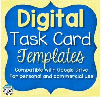 Want To Create Digital Task Cards For Personal Or Commercial Use This Digital Task Card Template Bundle Contains 12 Different Task Cards Card Templates Cards
