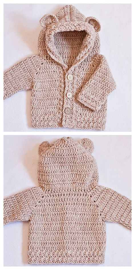 Bear Hooded Cardigan Free Crochet Pattern & Paid - DIY Magazine Bear Hooded Cardigan Free Crochet Pattern & Paid Always wanted to discover ways to knit, nonetheless not sure how to sta. Crochet Baby Cardigan Free Pattern, Crochet Bear Patterns, Crochet Baby Sweaters, Baby Sweater Patterns, Crochet Hoodie, Knitted Baby Cardigan, Baby Pullover, Crochet Teddy, Baby Clothes Patterns