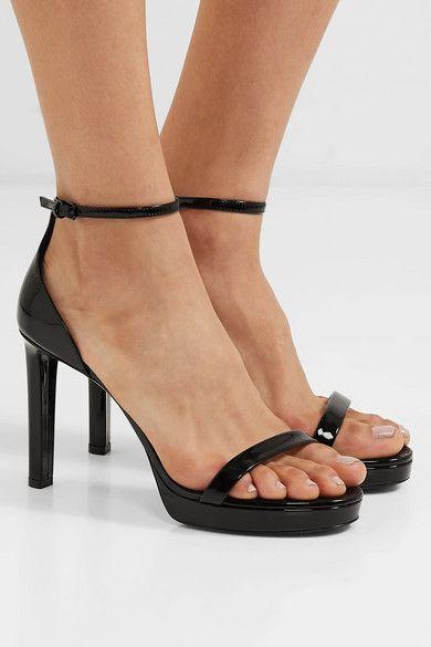 Black Hall Patent Leather Platform Sandals Saint Laurent Leather Platform Sandals Platform Sandals Patent Leather