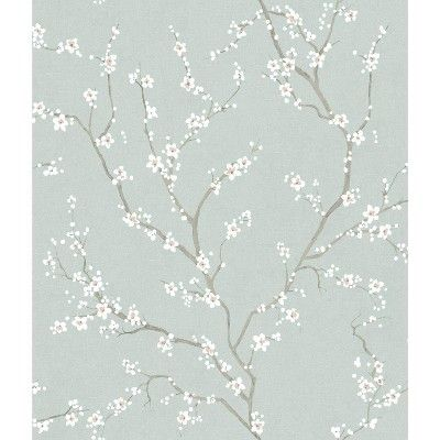 Roommates 28 2 Cherry Blossom P S Wallpaper Blue In 2021 Cherry Blossom Wallpaper Peel And Stick Wallpaper Peelable Wallpaper