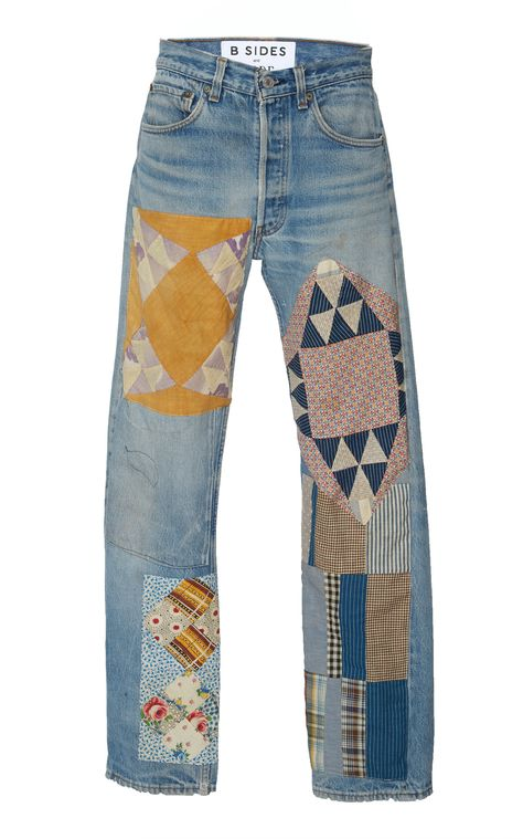 Shop Exclusive Mid-Rise Patchwork-Effect Straight-Leg Jeans. B SIDES x BODE's jeans were made using vintage cotton denim jeans as a foundation.