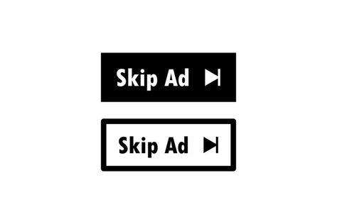 Skip ad button web icon in black. Skip advertisement icon. (1282160)   Icons   Design Bundles
