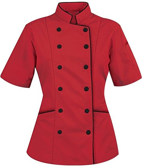 Short Sleeves Women's Ladies Chef's Coat Jackets By Uniformates (Pink, M (For Bust Chef Dress, Coats For Women, Jackets For Women, Chef Shirts, Chambray Dress, Ideias Fashion, Short Sleeves, Fashion Outfits, Red Clothing