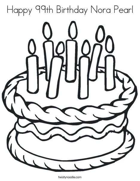 Coloring Sheet Of A 9th Birthday Cake For Kids Birthday Cake