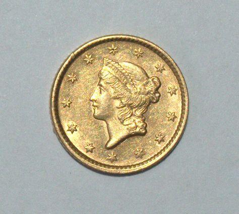 Usa 1851 1 Dollar Gold Coin Small Size Liberty Km 73 Coins Gold Coins Dollar