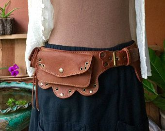 Dark Brown cosplay travel 7 Pocket festival Suede fanny pack Unisex Leather Utility Belt