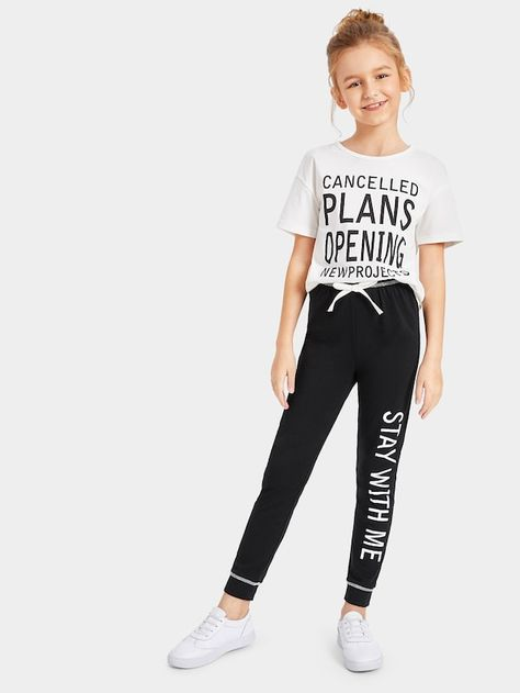 Product name: Girls Letter Print Tee & Drawstring Waist Pants Set at SHEIN, Category: Girls Two-piece Outfits