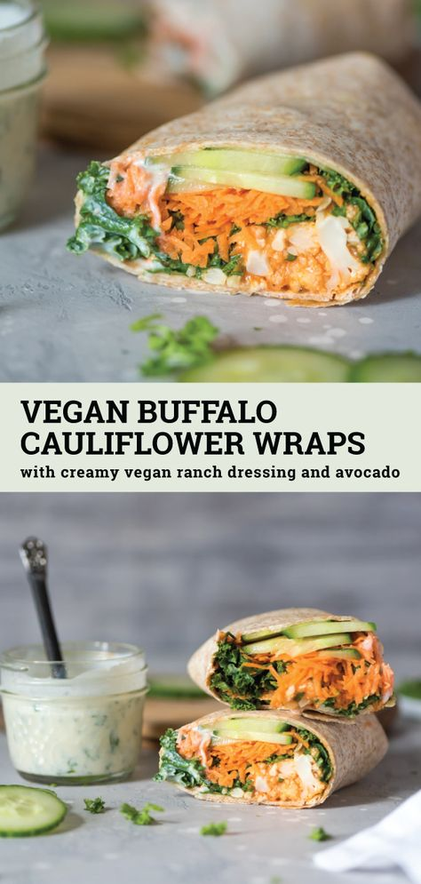 Vegan Buffalo Cauliflower Wraps Have you ever tried buffalo cauliflower wings? Try them in these vegan buffalo cauliflower wraps with vegan ranch dressing. They're easy to make and can be made gluten-free. This recipe is perfect for a healthy vegan lunch Veggie Recipes, Whole Food Recipes, Vegetarian Recipes, Cooking Recipes, Plant Based Dinner Recipes, Qinuoa Recipes, Recipies, Cooking Games, Salmon Recipes