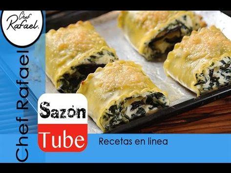 Rollos de lasaña con espinaca - YouTube