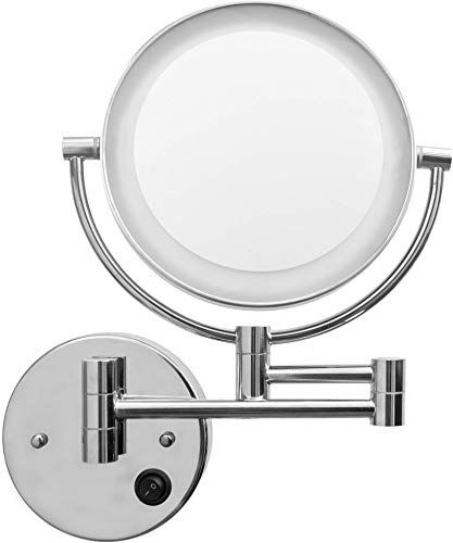 New Makeup Mirror With Lights And Magnification Wall Mount Double Sided Magnification Vanity Mirror With Lights Bathroom Mirrors For Wall Shaving Mirror Bea