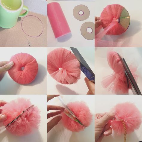 Trash To Couture: DIY Pom Pom Keychain - Baby Deco - Trash To Couture: DIY Pom Pom Keychain tags Best Picture For nature crafts - Trash To Couture, Tulle Crafts, Pom Pom Crafts, Fabric Flowers, Paper Flowers, Tulle Flowers, Tulle Poms, Tulle Balls, Tule Pom Pom