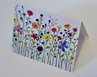 Wildflower Watercolor Cards Etsy Watercolor Cards Watercolor