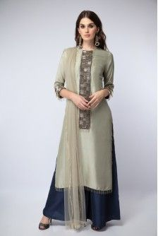 Payal Singhal New Arrivals Collection : : Mint Embroidered Kurta With Navy Palazzo And Mint Dupatta : Mint Color Silk Kurta With Criss-Cross Tassel Embroidered Yoke And Cuffs Worn With Navy Color Silk Palazzos And Mint Color Net Tassel Bordered Dupatta.