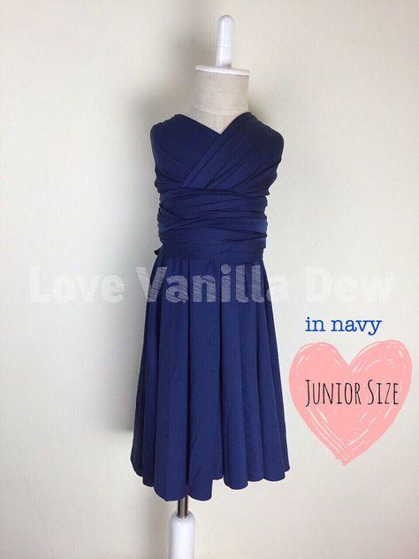 Junior Bridesmaid Dress Infinity Dress Navy Blue Convertible Dress Multiway  Wrap Dress c9483e5b15