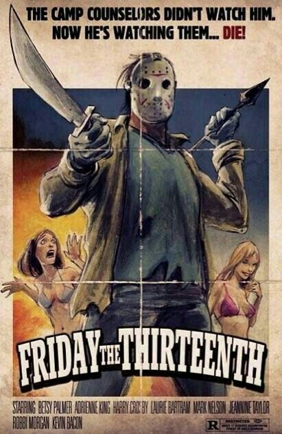 Friday The 13th Old Style Poster Horror Posters Classic Horror Movies Friday The 13th Poster