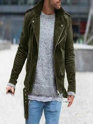 Vintage Old Solid Color Zipper Lapel Casual Pleated Jacket $83.82