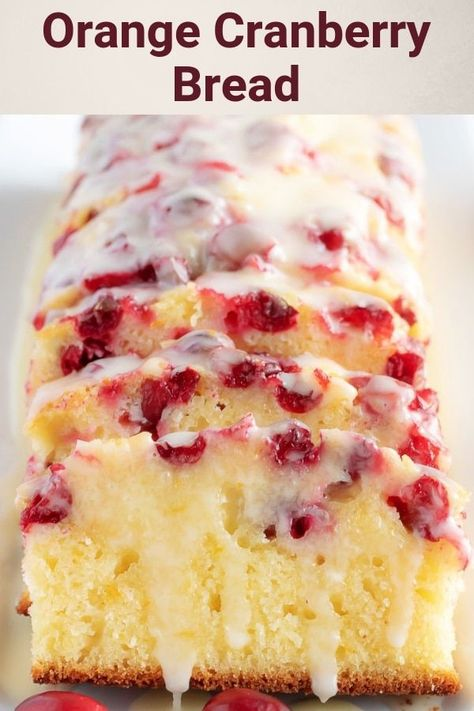 This orange cranberry bread is incredibly moist, dense, and full of orange and cranberry in every bite. It's even topped with a sweet orange glaze that puts it over the top. via desserts Orange Cranberry Bread with Glaze Holiday Baking, Christmas Baking, Christmas Bread, Just Desserts, Delicious Desserts, Holiday Desserts, Holiday Treats, Holiday Appetizers, Sweet Desserts
