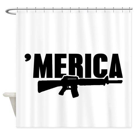 MERICA Rifle Gun Shower Curtain On CafePress