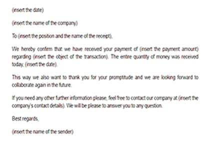 Image Result For How To Write A Letter Confirm Payment Letter
