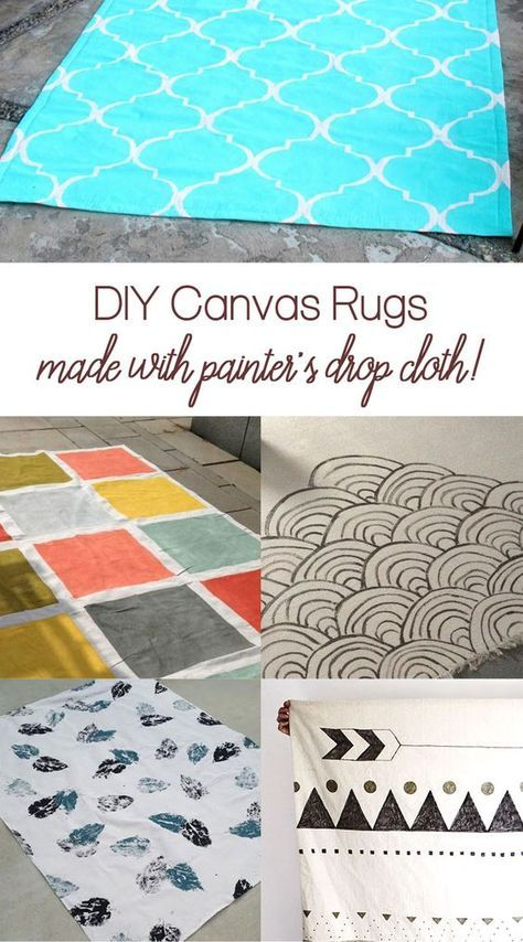 Easily Make A Modern Diy Canvas Rug Using Painter S Drop Cloth Painted Rug Homemade Rugs Diy Canvas