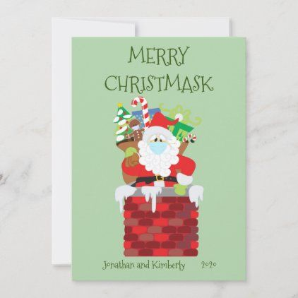 Merry Christmask Santa Face Mask 2020 Holiday Card Zazzle Com Holiday Cards Holiday Design Card Christmas Cards Handmade