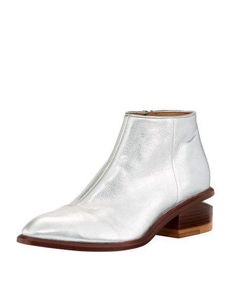 a03ad702a6b Kori Metallic Leather Lift-Heel Bootie | Fashion | Metallic leather ...
