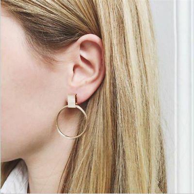 1 Pair Simple Stylish Women Earrings Geometric Round Circle Drop Dangle Jewelry