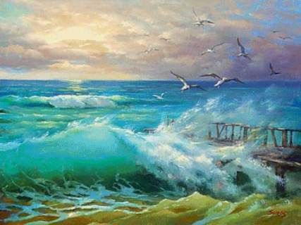 47 Ideas Painting Landscape Beautiful Oil On Canvas Landscape Paintings Ocean Painting Seascape Paintings