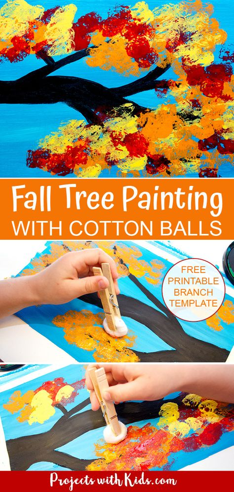 Fall Tree Painting with Cotton Balls