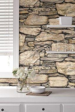 Wallpops Hadrian Stone Reusable Peel Stick Vinyl Wallpaper Hautelook Stone Wall Design Stone Wallpaper Stone Walls Interior