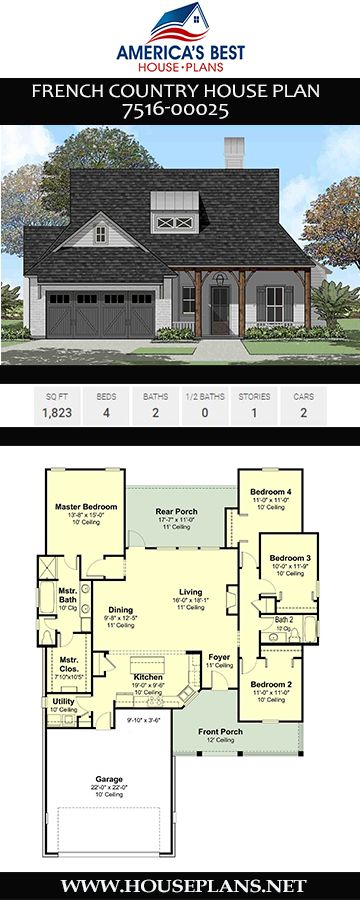 House Plan 7516 00025 French Country Plan 1 823 Square Feet 4 Bedrooms 2 Bathrooms French Country House French Country House Plans Affordable House Plans