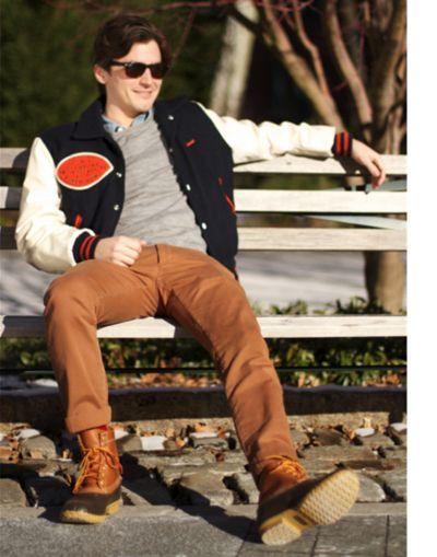 Nick Bourne - Letterman Varsity jacket and #LLBean Boots via GQ